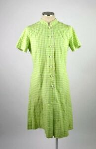 2d2b0643b2ac8 Vintage 60s Green White Check Plaid Short Sleeve Slinky Shift Midi ...