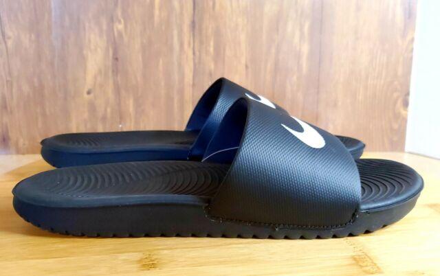 Nike Men's Kawa Slide Sandal Black White Swoosh 832646 010 SIZE 12