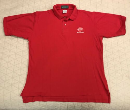 Nice! Dairy Queen Vintage Logo Red Polo Shirt Ice Cream Size L Embroidered NWOT