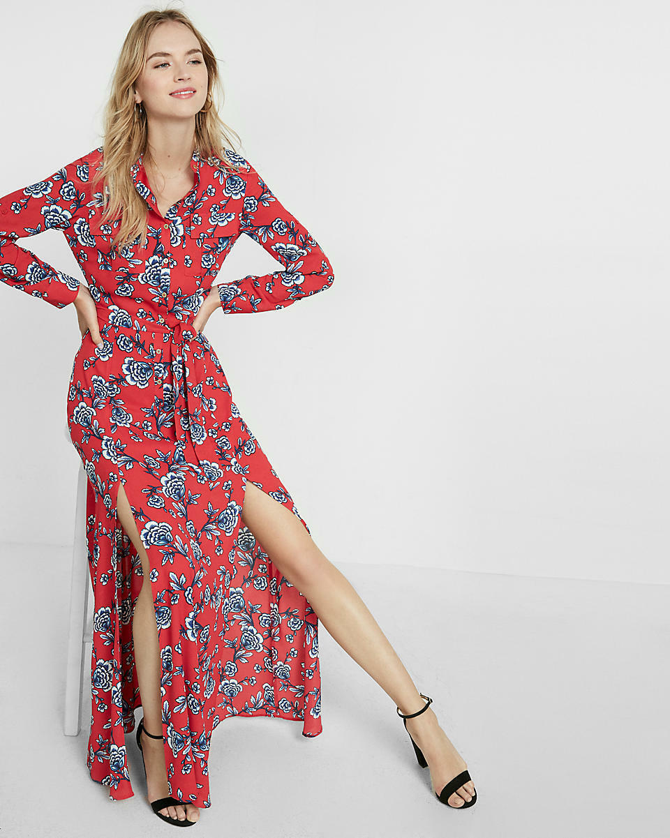 NEW EXPRESS RED FLORAL TIE WAIST POPOVER MAXI DRESS SZ L LARGE