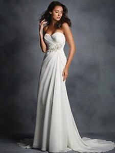 Beautiful Alfred Angelo 2514 Size 4 White Silver Wedding Dress Nwt Chiffon Ebay