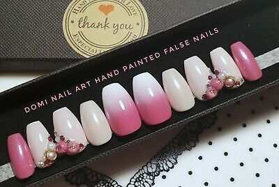 Hand Painted False Nails Pink 3d Flowers Gems Ombre Shimmering Coffin Press On Ebay Lovethispic's pictures can be used on facebook, tumblr, pinterest, twitter and other websites.