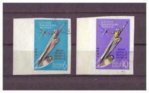 Sowjetunion-Eroberer-des-Weltalls-MiNr-2670-B-2671-B-1962-used-Randstuecke