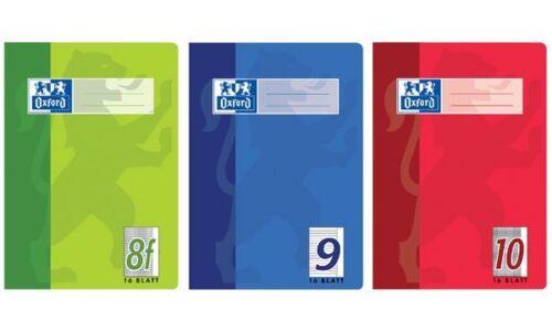 DIN A5 16 Blatt Oxford Schulheft Lineatur 28 // kariert