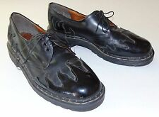 TREDAIR Flames Fire Black Oxfords Shoes Size US Men's 10 Made in England EUC