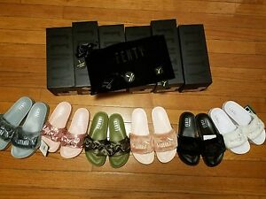 new arrivals 9e44c 2da79 Details about Puma x Rihanna Fenty Slides Olive green Pink Black Grey White  Lead Slippers bow