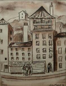 William-Ralph-Tornitore-Firmato-Originale-Matita-Disegno-Street-in-Francia-amp