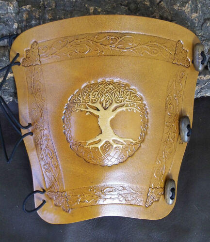 2 tone Tree of Life w Antique Tan leather archery arm guard,bow bracer,LARP
