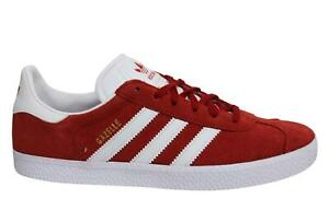 reunirse pared mitología  Adidas Originals Gazelle Kids Red Suede Leather Lace Up Juniors Trainers  BY9543 | eBay
