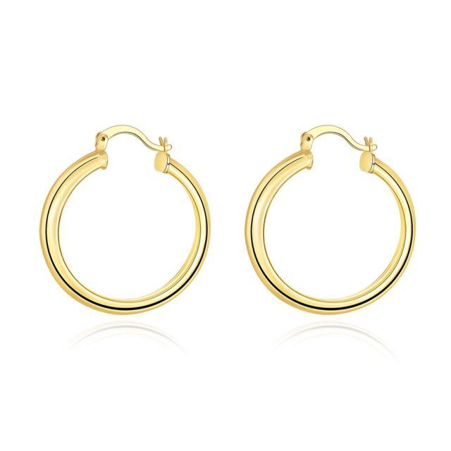 1 25mm X 2mm All Shiny Plain Hoop Earrings 14k Yellow Gold Clad Silver 925