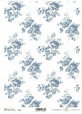 Rice Paper for Decoupage Scrapbooking, Bouquets of Flowers Blue ITD R634