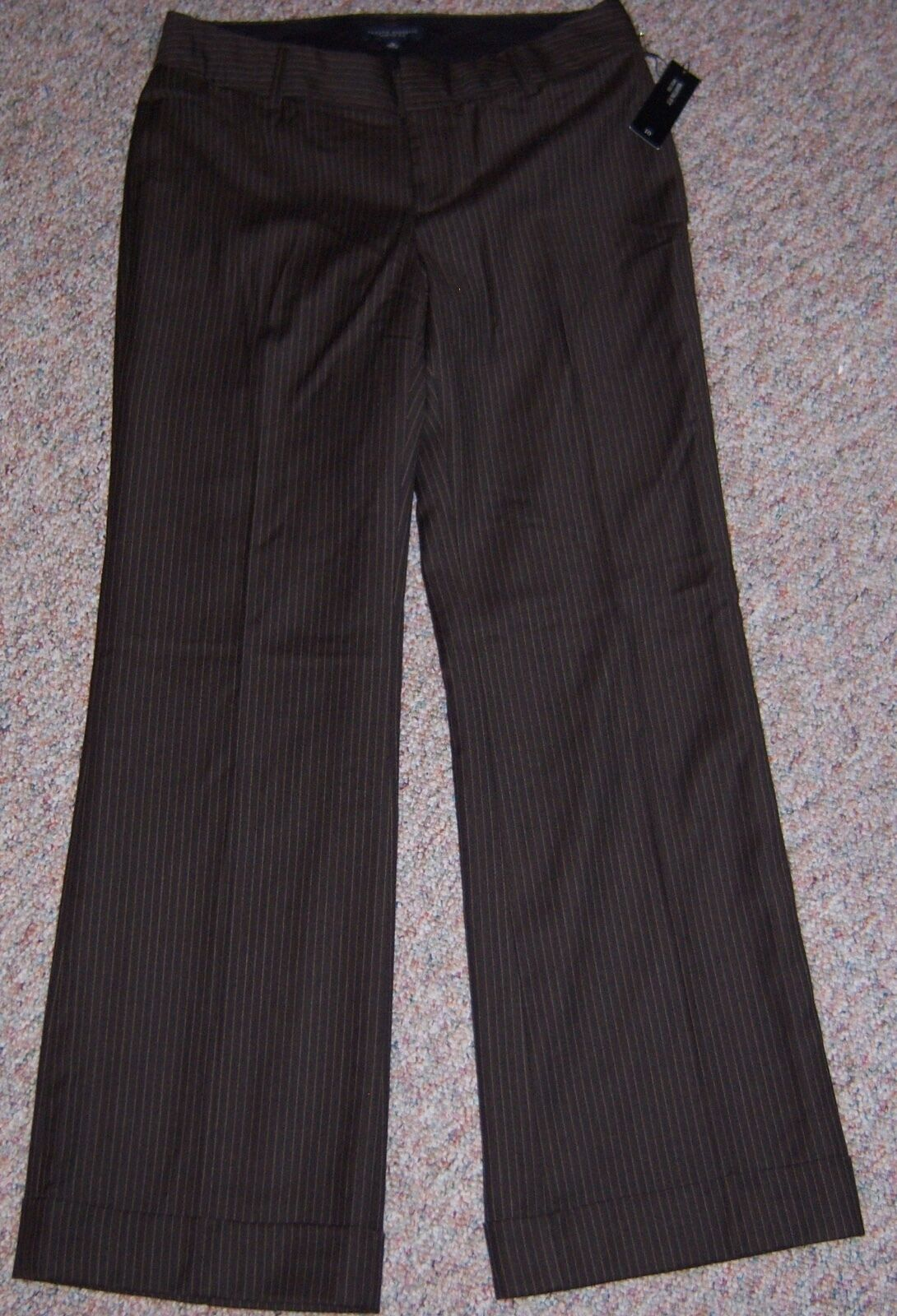 BANANA REPUBLIC Martin Fit Brown Striped Wide Leg Wool Dress Pants Cuffs Size 10