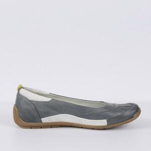 15f05c1b1afbe Details zu Damen Ballerina Leder Sneaker Neu Grau Weiß 36 37 38 Schuhe