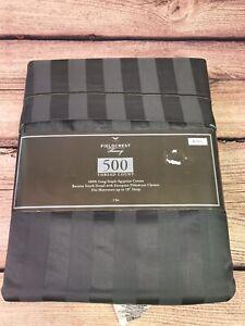 Fieldcrest-Luxury-King-500-Egyptian-Cotton-Sheet-Set-Dark-Grey-GrayStripped