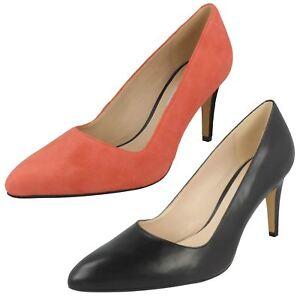 Clarks Ladies Dalhart Sorbt Coral Suede High Heel Smart Court Shoes Various Size