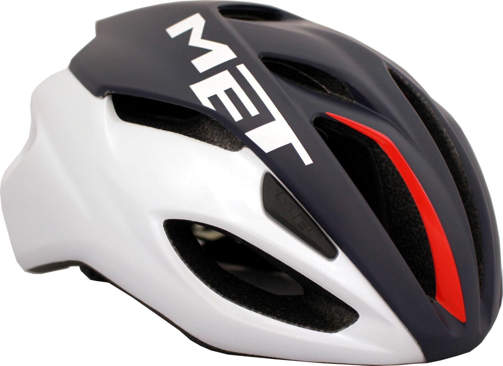 MET Rivale Road Bike Helmet Midnight bleu blanc rouge