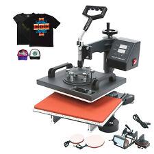 5 In 1 Heat Press Machine Digital Sublimation 12x10 For T Shirt Mug Plate Hat