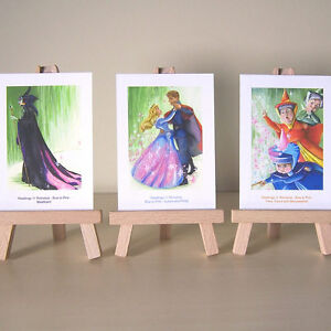 3-Sleeping-Beauty-ACEOs-WDCC-Maleficent-Aurora-Flora-Fauna-Merryweather-drawings