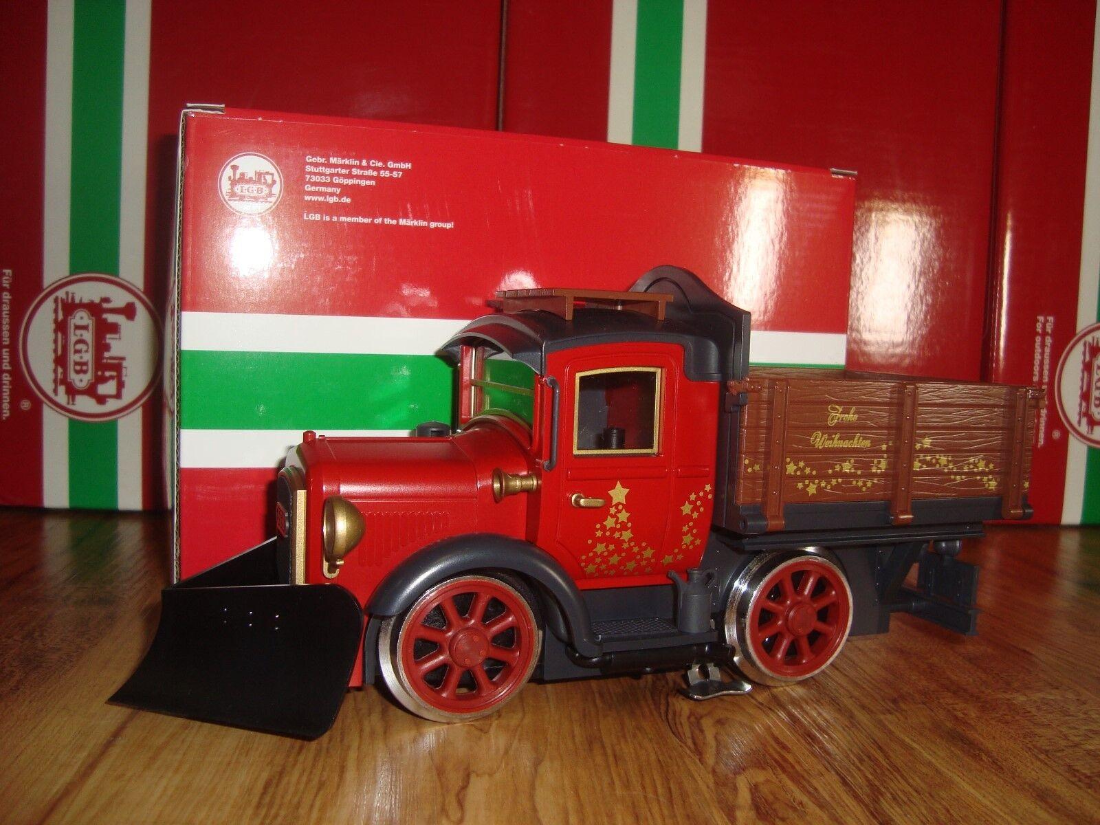 LGB 24681 Camión de carril de Navidad rojo con quitanieves a estrenar en caja 50TH aniversario