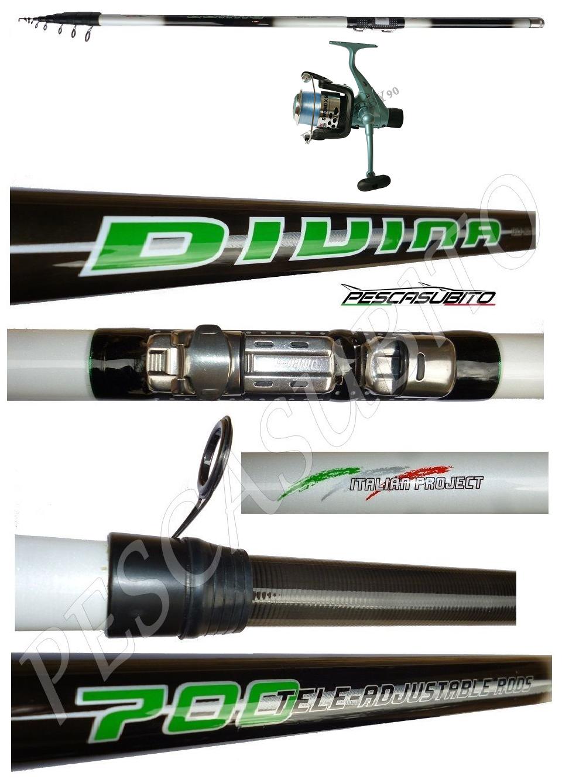 Kit Canna Teleregolabile 6m Carbonio Divina  Mulinello Sword Trossoa tp