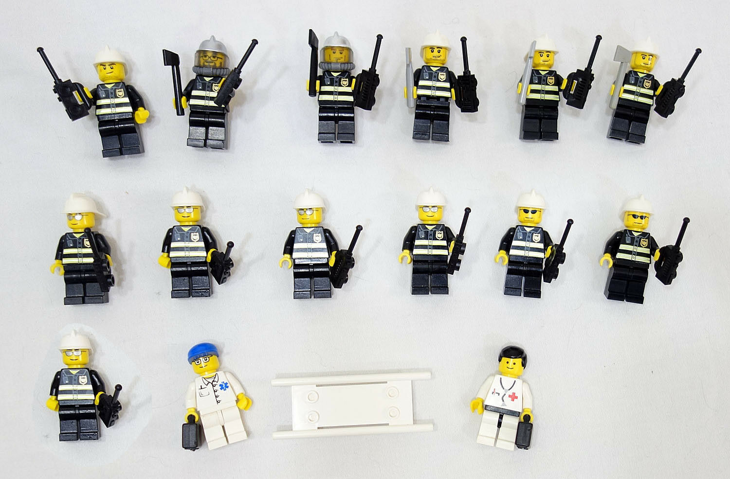 LEGO City/Town Lot of 15 Complete Firemen & Doctor MiniFigures Nice