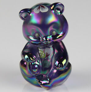Fenton-Glass-Bear-Purple-Carnival-Iridescent-Glass-with-Hand-Painted-Flowers