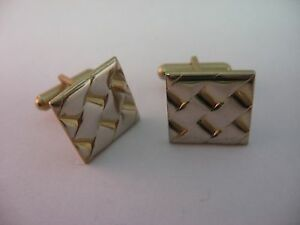Nice-Weave-Texture-Gold-Tone-Squares-Vintage-Mens-Cufflinks-Jewelry-Accessory