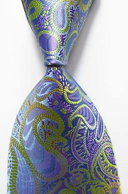 New Classic Paisley Blue Green Purple JACQUARD WOVEN 100% Silk Men's Tie Necktie