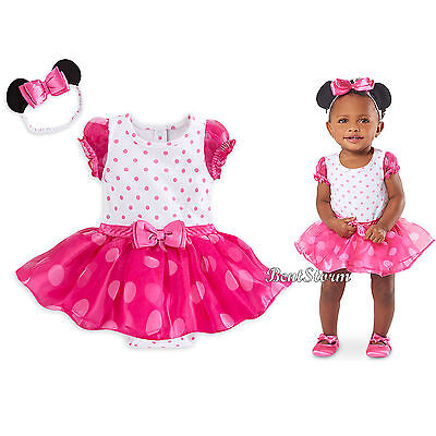 DISNEY STORE MINNIE MOUSE SWIMSUIT FOR BABY COLORFUL RUFFLES 3-D EARS /& BOW
