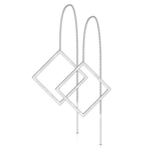Damen Edelstahl Ohrstecker Ohrringe Ohrhänger Durchzieher Dreieck Triangel