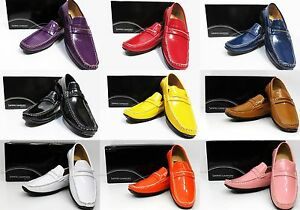 Men-039-s-Saminto-Laurenzini-faux-leather-black-purple-navy-red-yellow-loafers-L206