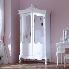 Antico Bianco Sporco Armadio In Legno Dipinto Mirroring Porte