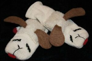 ADULT LAMBCHOP MITTENS knit FLEECE LINED lamb chop puppet costume mitts animal