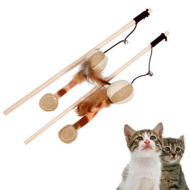 Pet Cat Toy Interactive Catcher  Wooden Pole  Bells Elastic Rod  FeatherPumpkin