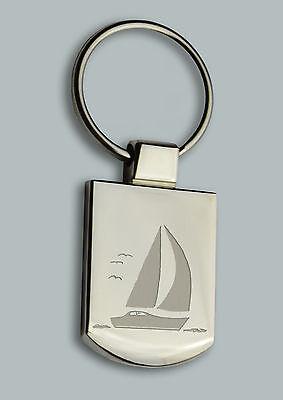 Chrome Metal Sailing Boat Keyring Chrome Yacht Key Chain Gift Boxed