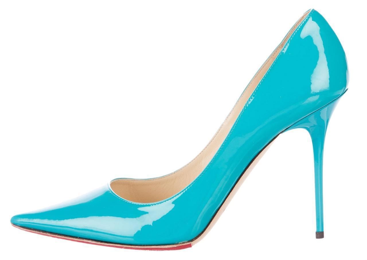 595 New JIMMY CHOO Turquoise ABEL Patent Leather 40 Pointed Toe Pumps shoes