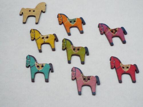 5pc 26 mm peint Dalécarlie cheval style bois Cardigan Chemise Couture Boutons 0283