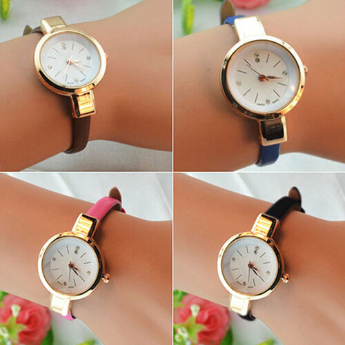Women Ladies Candy Color Admiring Thin Leather Strap Quartz Bracelet Wrist Watch