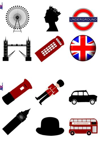 Vorgeschnitten London Theme 36 Edible Cake Toppers Decorations Big Ben eyelets