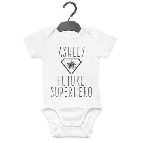 FUTURE SUPERHERO PERSONALISED BABY GROW VEST CUSTOM FUNNY GIFT CUTE