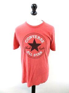 Détails sur Converse T-Shirt Homme Top L large en coton rouge- afficher le  titre d'origine