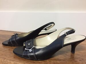 ANNE-KLEIN-IFLEX-LEATHER-Black-Shoes-Slingbacks-Women-s-w-Buckle-Sz-7M