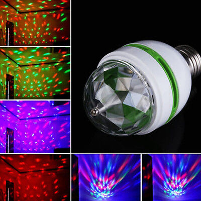 3W E27 RGB Crystal Ball Rotating LED Stage Light Bulbs Disco Party Bulb Lamp New