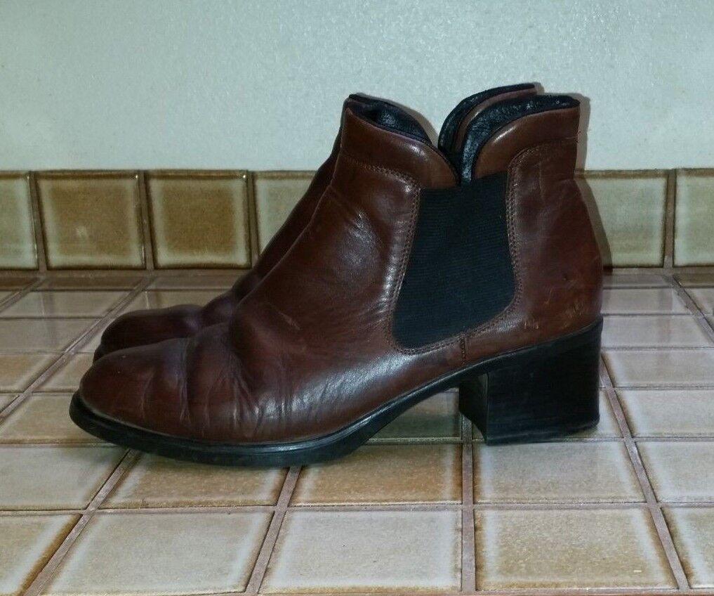 REIKER Remonte Brown Leather Annemarie Ankle Boots Sz 9.5 EUC