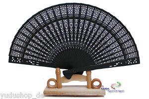 WohltäTig Wunderschönen Holzfächer Handfächer Fächer In Schwarz SchöNe Lustre