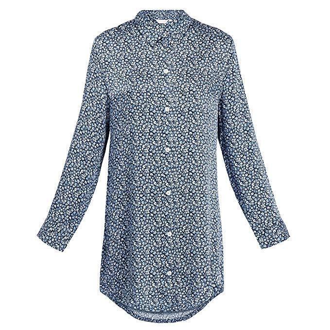 Derek pink 100% Silk ESME Floral Print Nightshirt Navy Size UK Small