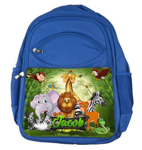 Personnalisé Large Bleu Sac à dos tout nom Jungle Garçons Enfants Sac D/'école 20