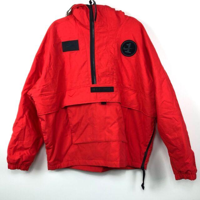 Nike Sportswear AF 1 Air Force 1 Half Zip Jacket Habanero Red Black Men's M XL