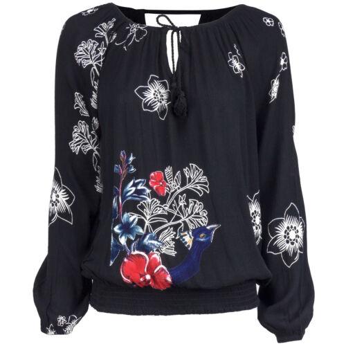 Desigual Damen Bluse weites Shirt mit Carmen-Ausschnitt gesmokter Abschlussbund