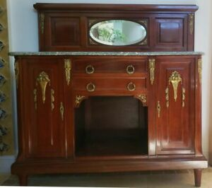 GORGEOUS-ANTIQUE-FRENCH-MARBLE-SIDEBOARD-CABINET-ORMOLU-MIRROR-or-SINK-COMMODE